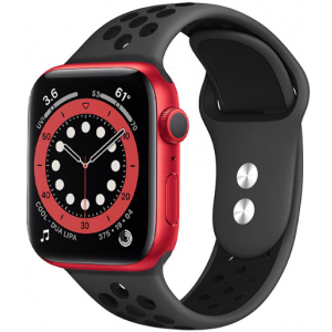 Crong Duo Sport Λουράκι Σιλικόνης Apple Watch SE/6/5/4/3 (40/38MM) - Grey / Black