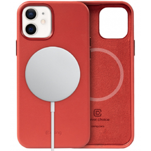 Crong Essential Eco Leather Magnetic - Σκληρή MagSafe Θήκη Apple iPhone 12 / 12 Pro - Red