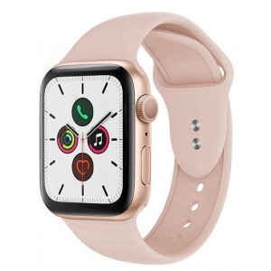 Crong Liquid Λουράκι Premium Σιλικόνης Apple Watch SE/6/5/4/3 (40/38MM) - Pink Sand