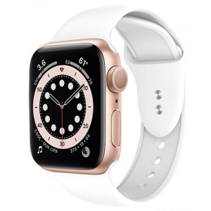 Crong Liquid Λουράκι Premium Σιλικόνης Apple Watch SE/6/5/4/3 (40/38MM) - White