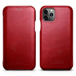 iCarer Vintage Curved Edge Folio - Δερμάτινη Θήκη iPhone 11 Pro - Red