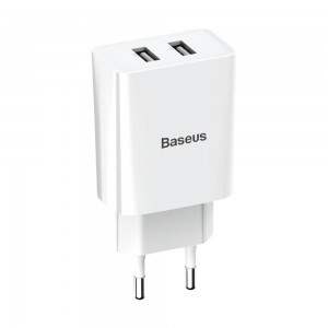 Baseus Speed Mini Dual U Travel Charger - Διπλός Φορτιστής Ταξιδιού 10.5W - White