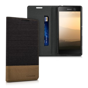 KW Θήκη - Πορτοφόλι Sony Xperia M5 - Anthracite Brown