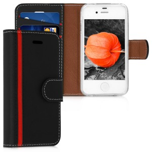 KW Θήκη - Πορτοφόλι Apple iPhone 4 / 4S - Protective Leather Flip Cover - Black / Red