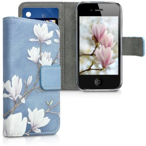 KW Θήκη - Πορτοφόλι Apple iPhone 4 / 4S - Leather Protective Flip Cover - Taupe / White / Blue Grey