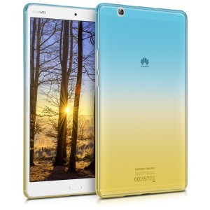 KW Ημιδιάφανη Θήκη Σιλικόνη Huawei MediaPad M3 8.4 - Soft Flexible Shock Absorbent Protective Cover - Blue / Yellow / Transparent