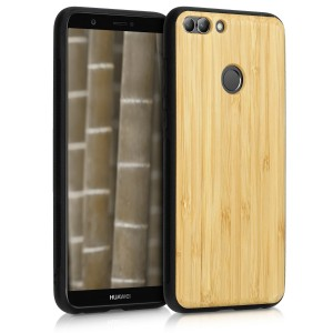 KW Σκληρή Ξύλινη Θήκη Huawei Enjoy 7S / P Smart - TPU bamboo in Light Brown -