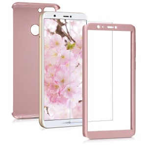KW Θήκη Full Body Huawei P Smart 2018 & Tempered Glass - Metallic Rose Gold
