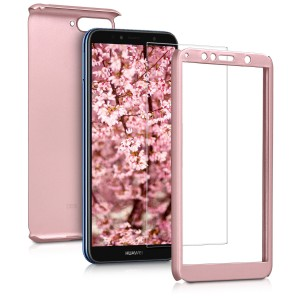 KW Θήκη Full Body with Screen Protector - Huawei Y6 (2018) - Metallic Rose Gold