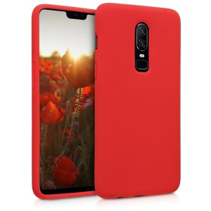 KW Θήκη Σιλικόνης OnePlus 6 - Soft Flexible Rubber Protective Cover - Red
