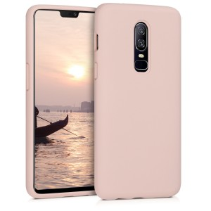 KW Θήκη Σιλικόνης OnePlus 6 - Soft Flexible Rubber Protective Cover - Antique Pink