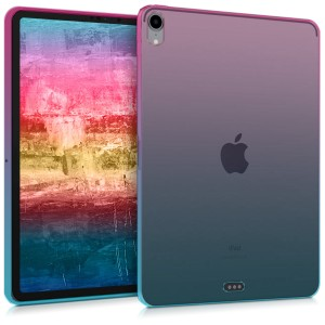 "KW Ημιδιάφανη Θήκη Σιλικόνης Apple iPad Pro 11"" (2018) - Soft Flexible Shock Absorbent - Dark Pink / Blue / Transparent"