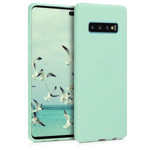 KW Θήκη Σιλικόνης Samsung Galaxy S10 Plus - Soft Flexible Shock Absorbent - Mint Matte