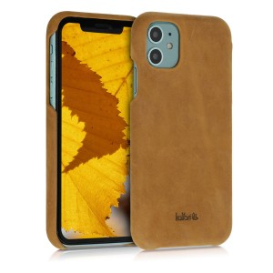 Kalibri Σκληρή Δερμάτινη Θήκη Apple iPhone 11 - Smooth Genuine Leather Hard Case - Light Brown