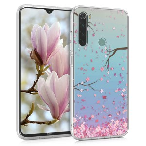 KW Θήκη Σιλικόνης Xiaomi Redmi Note 8 - Cherry Blossoms - Light Pink / Dark Brown / Transparent