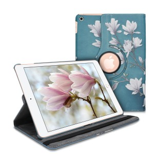 "KW Θήκη 360° Apple iPad 7 / 8 / 10.2"" 2019 / 2020  - PU Leather Protective Tablet Cover - Magnolias - Taupe / White / Blue Grey"