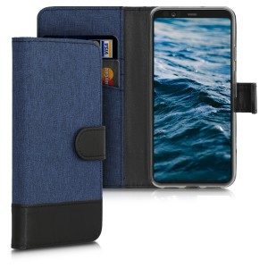 KW Θήκη - Πορτοφόλι Google Pixel 4 - Fabric and PU Leather Flip Cover - Dark Blue / Black