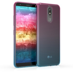 KW Θήκη Σιλικόνης LG K40 - Dark Pink / Blue / Transparent