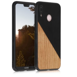 KW Σκληρή Θήκη Huawei P20 Lite - TPU Bumper and PU Leather / Wood Design - Black / Brown