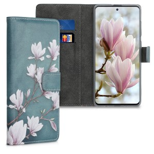 KW Θήκη - Πορτοφόλι Samsung Galaxy A51 - PU Leather Protective Flip Cover - Magnolias - Taupe / White / Blue Grey