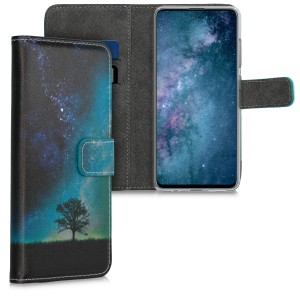 KW Θήκη - Πορτοφόλι Samsung Galaxy A51 - PU Leather Protective Flip Cover - Cosmic Nature - Blue / Grey / Black