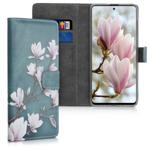 KW Θήκη - Πορτοφόλι Samsung Galaxy A71 - PU Leather Protective Flip Cover - Magnolias - Taupe / White / Blue Grey