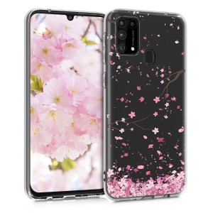 KW Θήκη Σιλικόνης Samsung Galaxy M31 - Cherry Blossoms - Light Pink / Dark Brown / Transparent