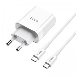 Hoco C80A Network Charger PD20W / QC3.0 - Σετ Διπλός Φορτιστής Type-C / USB-A & Καλώδιο Type-C σε Type-C 100cm - White
