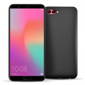 Caseflex Θήκη Σιλικόνης Huawei Honor View 10 - Solid Black & Screen Protector (HU-AW03-Z712)