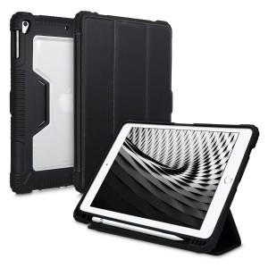 "ΚW Θήκη Apple iPad 9.7"" 2017 / 2018 - PU Leather Smart Cover Outdoor Tablet Holder Case with Stand - Black / Transparent"