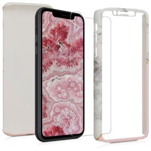 KW Θήκη Full Body Apple iPhone XR - Με Screen Protection - White / Dusty Pink / Gold