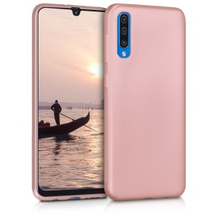 KW Θήκη Σιλικόνης Samsung Galaxy A50 - Soft Flexible Shock Absorbent Protective Phone Cover - Metallic Rose Gold