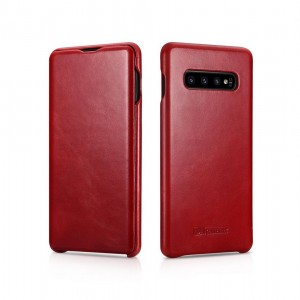 iCarer Vintage Series Side-Open Δερμάτινη Θήκη Samsung Galaxy S10 - Red
