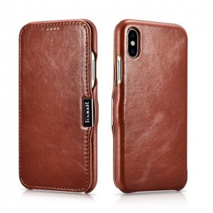 iCarer Vintage Series Side-Open Δερμάτινη Θήκη iPhone XS Max - Brown