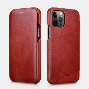 iCarer Vintage Series Curved Edge - Δερμάτινη Θήκη Apple iPhone 12 / 12 Pro - Red