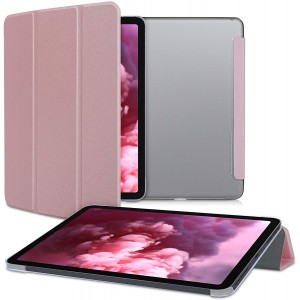 """KWmobile Θήκη Flip Apple iPad Air 4 2020 10.9"""" - PU Leather Smart Cover with Stand - Rose Gold / Transparent"""