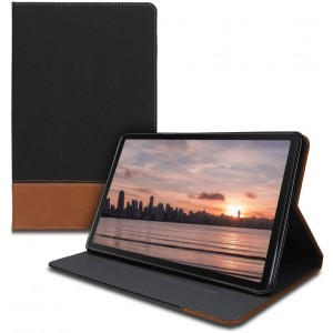 """KWmobile Θήκη Flip Samsung Galaxy Tab A 10.1"""" 2019 - PU Leather Canvas Tablet Cover with Stand - Black / Brown"""