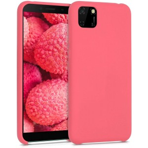 KWmobile Θήκη Σιλικόνης Huawei Y5p - Soft Flexible Rubber Cover - Neon Coral