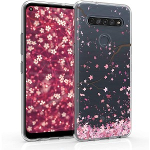 KWmobile Θήκη Σιλικόνης LG K61 - Cherry Blossoms / Light Pink / Dark Brown / Transparent