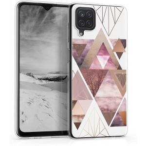 KWmobile Θήκη Σιλικόνης Samsung Galaxy A12 - Patchwork Triangles Pink / Rose Gold / White