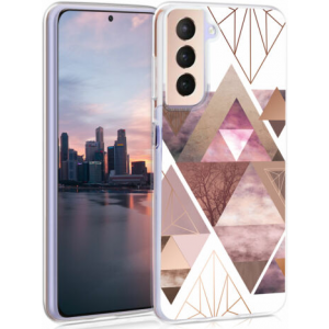 KWmobile Θήκη Σιλικόνης Samsung Galaxy S21 5G - Patchwork Triangles / Light Pink / Rose Gold / White