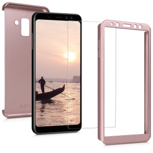 KW Θήκη Full Body για Samsung Galaxy A8 2018 & Tempered Glass - Metallic Rosegold