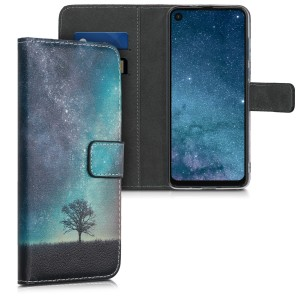 KW Θήκη - Πορτοφόλι Motorola One Vision - Cosmic Nature, Blue / Grey / Black