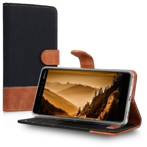 KW Canvas Θήκη Πορτοφόλι Nokia 6.1 / Nokia 6 2018 - Black Brown
