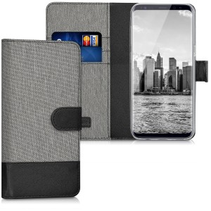 KW Θήκη Πορτοφόλι Samsung Galaxy S8 - Grey / Black Canvas