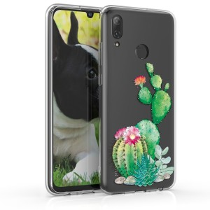 KW Θήκη Σιλικόνης Huawei P Smart 2019 - Green / Dark Pink / Transparent