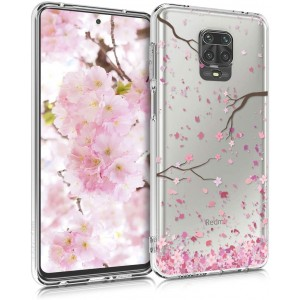 KW Θήκη Σιλικόνης Xiaomi Redmi Note 9S / 9 Pro / 9 Pro Max - Cherry Blossoms / Light Pink / Dark Brown / Transparent
