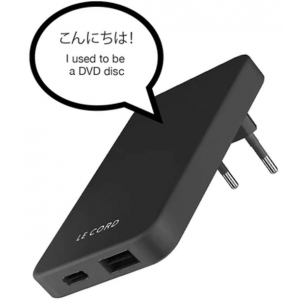 Le Cord Recycled Foldable Quick Charger - Ταχυφορτιστής Ταξιδιού με USB-A x1 / Type-C x1 - 18W - Black Lava