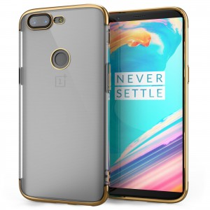 Caseflex Θήκη Σιλικόνη OnePlus 5T - Clear/Gold & Screen Protector