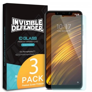 Ringke Invisible Defender ID Glass - Premium Αντιχαρακτικό Γυαλί Οθόνης Xiaomi Pocophone F1 - 3τμχ